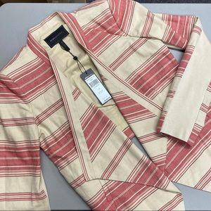 BCBGMaxAzria Abbey Blazer Cropped Striped Red Tan